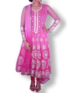 Pink Shaded Net Anarkali with Gold/Silver Gota Work | Sweta Sutariya