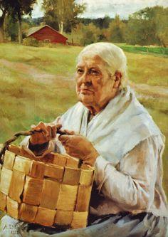 Old Woman with a Basket of Wood Chips / Eukko pärekoreineen  Albert Edelfelt