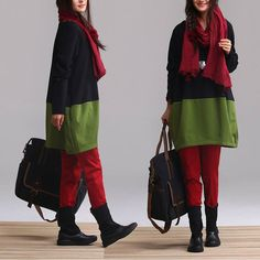 Black and green stitching cotton casual longsleeved by dreamyil, $98.00