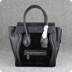 celine luggage bags leather black suede