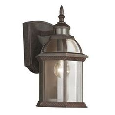 Portfolio�14.5-in H Bronze Motion Activated Outdoor Wall Light $47.98 at lowes also dusk to dawn feature