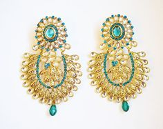 Gold tone chandelier earrings green crystal by BeautifulByBetter