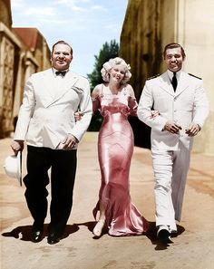 Wallace Beery, Jean Harlow and Clark Gable  during the filming of China Seas, which was released in 1935