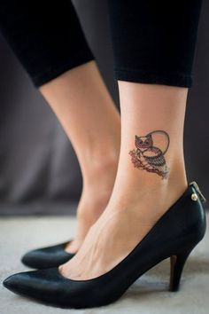 Classic Small Owl Tattoo On Left Ankle