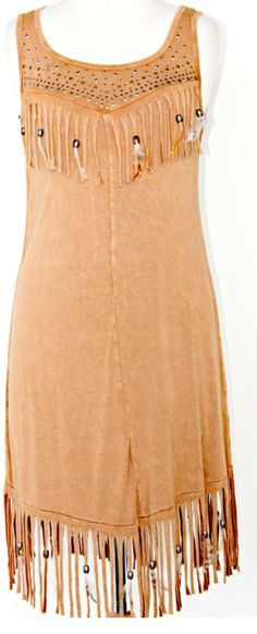 Pat Dahnke Distressed Buckskin Fringed and Feathered Dress; buckskin, fringe, feathers, beads, studs, dress, fun,flirty