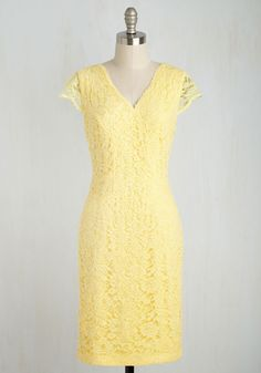 Lively in the Moment Dress. Let this lemon yellow sheath dress serve as a reminder to enjoy every second as it comes! #yellow #modcloth