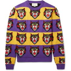 Gucci Angry Cat Intarsia Wool Sweater ($1,100) ❤ liked on Polyvore featuring men's fashion, men's clothing, men's sweaters, mens purple sweater, mens yellow sweater, mens woolen sweaters, mens wool sweaters and mens striped sweater