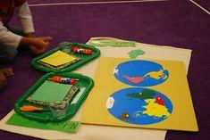 Montessori Hemisphere Map work found in Week 3 Day 5 on JustMontessori.com.
