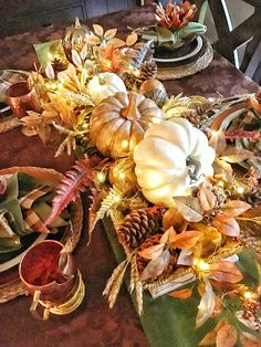 Thanksgiving is almost upon us here in Canada. This year, Thanksgiving falls on October 8 which is the earliest it can ever be (alw. Thanksgiving Centerpieces, Rustic Thanksgiving Decor, Fall Decor, Autumn Decorations, Table Decorations, October 8, Fall Table, Copper, Autumn Ideas