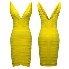Image of Sasha V Dress Yellow