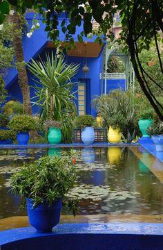 Majorelle Garden – Marrakech Morocco – Famous Last Words Blue Garden, Home And Garden, Exterior Design, Interior And Exterior, Beautiful Homes, Beautiful Places, Beautiful Pictures, Moroccan Garden, Marrakech Morocco