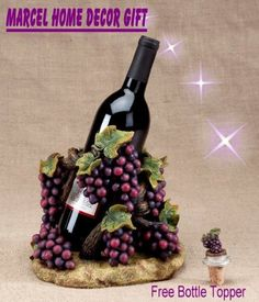 "$39.99-$79.99 Welcome to Marcel Home Decor Gift!Beautiful wine holder perfect for a special gift or your Tuscany theme decor.Includes a grape free vine topper to match. (Wine bottle no included ) measure 8 1/4""HTHANKS FOR VISIT OUR STORE"
