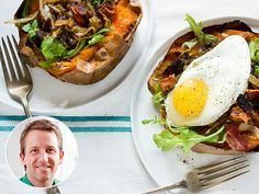 A spin on Daphne Oz's sweet potato breakfast dish—using a baked potato instead of potato pancakes. Extra healthy!