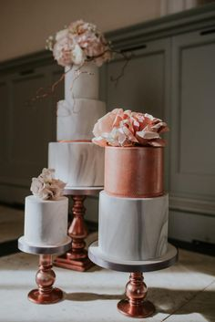 Marble wedding cake with blush and copper  by Sharon Sadie May Cakes  - http://cakesdecor.com/cakes/277930-marble-wedding-cake-with-blush-and-copper
