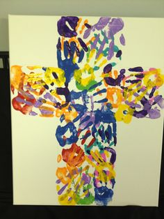 Be the church together! Kids come together and make this awesome cross. idea for a hallway art? Easter Crafts For Church Nursery Sunday School Rooms, Sunday School Classroom, Sunday School Activities, Church Activities, Sunday School Lessons, Sunday School Crafts, Ccd Activities, Sunday School Decorations, Kids Crafts