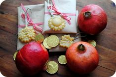 Winter ~ Advent ~ Saint Nicholas Day ~ Gifts ~ Chocolate golden coins, pomegranates, ornaments and wrapped chocolate orange peels