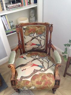 Introducing 'The Elmer' - Beautiful ornate antique open armchair upholstered in mulberry 'flying duck' fabric