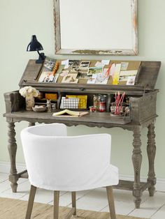 Convinced you don't have room for a home office? This handsome hideaway desk begs to differ. #smallspaceideas