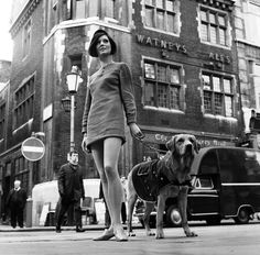 "isabelcostasixties: "" Nicky Smith, with Mod Dog Dusonofenhark the Labrador, taking a walk down Carnaby Street, London, February "" 1960s Fashion, London Fashion, Vintage Fashion, Swinging London, Carnaby Street, Girls Slip, Famous Girls, I Love Girls, Pop Culture"