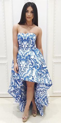 2017 homecoming dress, strapless high low homecoming dress, prom dress,blue and white porcelain homecoming dress, stylish prom dress formal evening dress