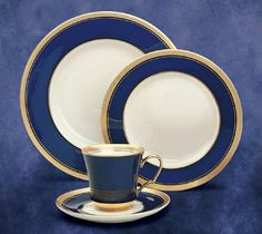 Full cobalt rim with 24k gold embossing; Great Seal crest available on dinner plate, cup and oversized dinner plate.