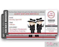 Secret Agent Invitation PRINTABLE  Spy Detective by CallaChic