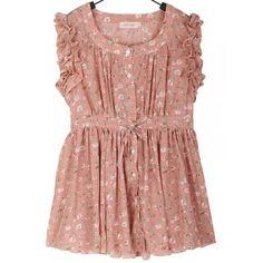 Chiffon Pink Flouncing Round Neck Sleeveless Women Dress M/L/XL@A4005p ($3.82) ❤ liked on Polyvore