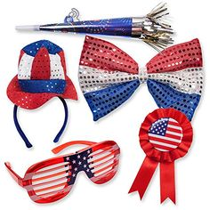 of July Patriotic American Flag Costume Dress up Party Favor Supplies Decor Accessories LED Lightup Shutter Shade Glasses Giant Sequin Bow Tie Award Ribbon Pin Uncle Sam Hat Headband Bopper & Horn 4th Of July Celebration, 4th Of July Party, Fourth Of July, Patriotic Shirts, Patriotic Crafts, Independence Day Decoration, Memorial Day Celebrations, Christmas Birthday Party, Christmas Gifts