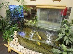 interior japanese water gardens | water garden with koi fish and waterfall