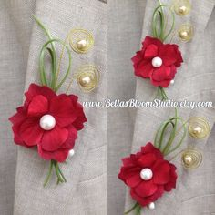 Wire Red Boutonniere Mens lapel pin Red Grooms boutonniere red Flower pin Prom boutonniere Corsage Lapel pin Wedding boutonniere red etsy by BellasBloomStudio on Etsy
