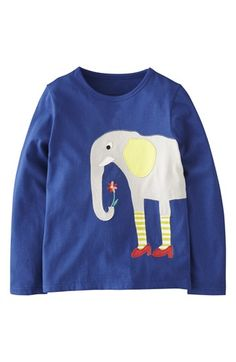 Mini Boden Animal Appliqué Long Sleeve Tee (Toddler Girls, Little Girls & Big Girls) available at #Nordstrom