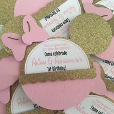 Pink and Gold Minnie invitations by NiftyKreations1 on Etsy