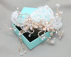 Gold combGold rhinestone crystal comb pearl by BlingGarden on Etsy