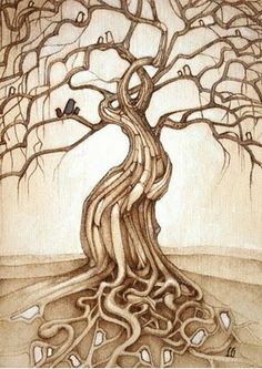 """""""Homegrown"""" by The Haunted Hollow Tree.does anyone else see a pregnant woman with her arms up around her head and her hair blowing helter skelter around her? Pyrography Patterns, Pyrography Ideas, Pyrography Designs, Wood Burning Patterns, Tree Patterns, Wood Patterns, Sign Printing, Illustrations, Tree Art"""