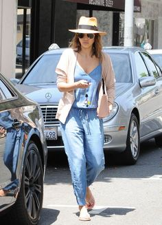Jessica Alba Style - Her Best Street Style Outfits in Jeans: Denim Jumpsuit