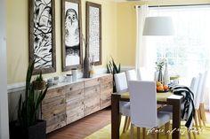 Summer Home Decor Refresh with Blue Home Focus, Wood Buffet, Diy Casa, Ikea Hacks, Hacks Diy, Diy Furniture, Living Spaces, Living Room, Family Room