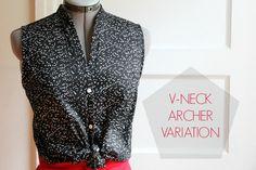 four square walls: archer shirt variation: v-neck placket