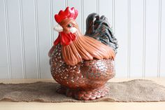Vintage Rooster Cookie Jar  Hand Painted by TheGlassLily on Etsy