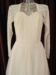 1950 s Ballerina length sequinned lace and tulle vintage wedding gown