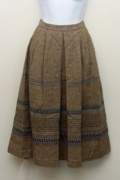 Vintage 80s Victoire Brown Wool Midi A-Line Skirt Size 8 #Victoire #ALine