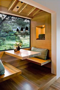 modern cabin with built-in wood dining nook / sfgirlbybay