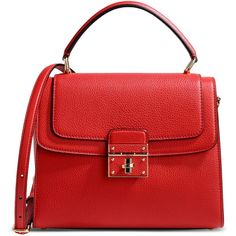 Dolce & Gabbana Medium Leather Bag ($1,890) ❤ liked on Polyvore featuring bags, handbags, shoulder bags, red, handbag purse, red leather shoulder bag, leather handbags, red purse and shoulder handbags