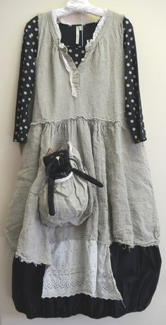 Magnolia Pearl handwoven linen French Farm Dress   Comfy tee shirt   Krista Larson cotton Cotton Ball Skirt   Woof & Poof kitty