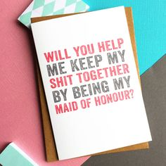 Will You Help By Being My Maid Of Honour Card