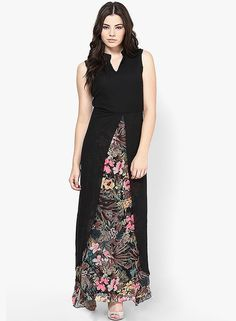 97a41c11c2d4 Buy Athena Black Colored Printed Maxi Dress for Women Online India
