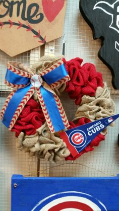 Chicago cubs burlap wreath