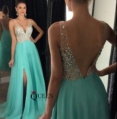 Mint Black Royal Blue Champagne Chiffon A-Line Beaded Top Low V-Neck Side Slit Long Prom Dress, Formal Gown With Deep V Bare Back - Thumbnail 2