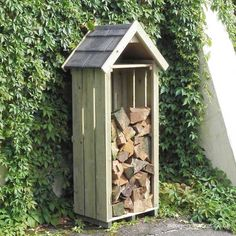 The High Hinton Log Store, made in England by Dorset Log Stores. Sentry Box style outdoor log store with timber, slate or shingle roofs options, FREE DELIVERY, 15 year warranty. Log Store, Firewood Storage, Roof Types, Things To Come, Outdoor Structures, Outdoor Decor, Garden Sheds, Gardens, Cottage