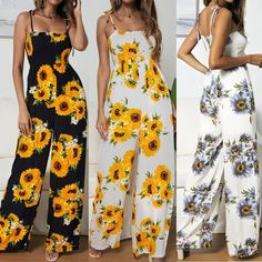 Sunflower Print Strap Jumpsuit - Sunflower Print Strap Jumpsuit – Pink-Always Source by - Cute Girl Outfits, Teen Fashion Outfits, Cute Casual Outfits, Cute Summer Outfits, Cute Fashion, Womens Fashion, Sunflower Dress, Sunflower Print, Sunflower Clothing