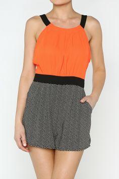 Patterned Romper  #wholesale #fashion #clothing #ootd #wiwt #shopitrightnow #graphics #patterns #prints #dress #pants #trousers #skirts #tops #orangeisthenewblack